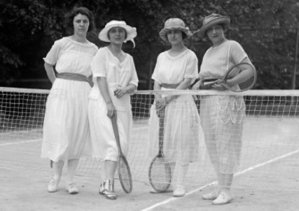 Vintage black and white photo of Womens Tennis Fashion in the 1920s